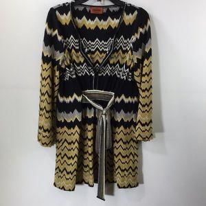 Missoni Wool Blend Black And Yellow Mini Dress